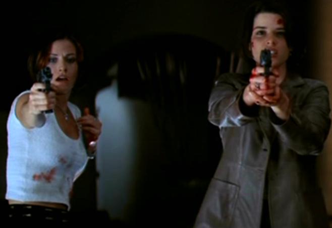 Double final girl power in Scream 2, offsetting the run and hide nature of other female victims in the series